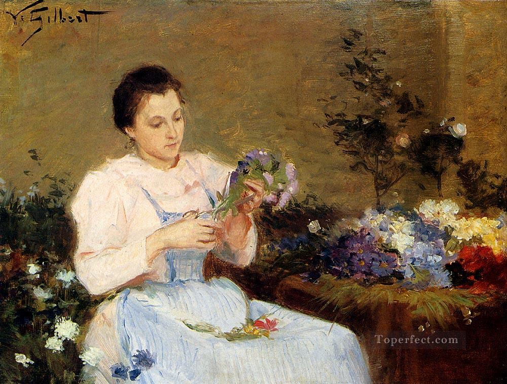 Arranging Flowers For A Spring Bouquet genre Victor Gabriel Gilbert Oil Paintings