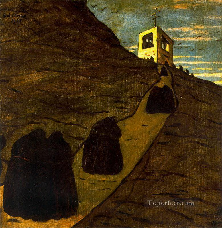 climb to the monastery Giorgio de Chirico Metaphysical surrealism Oil Paintings