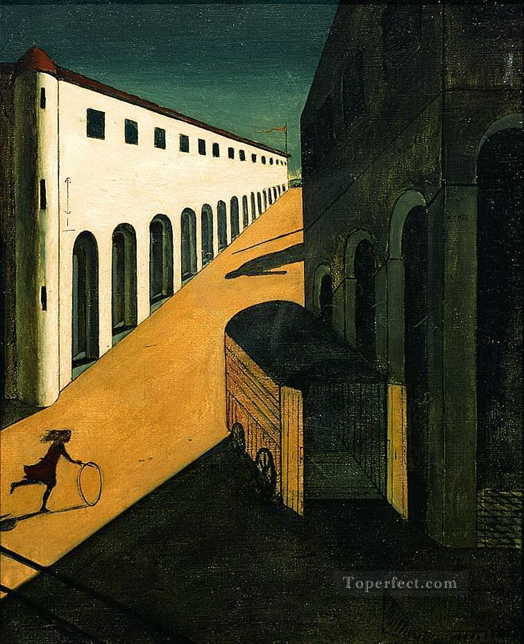 mystery and melancholy of a street 1914 Giorgio de Chirico Metaphysical surrealism Oil Paintings