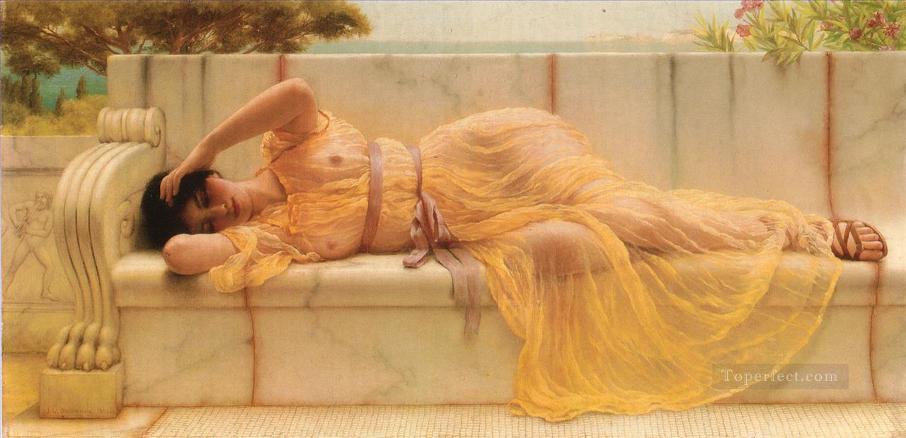 Girl in yellow Drapery Neoclassicist lady John William Godward Oil Paintings