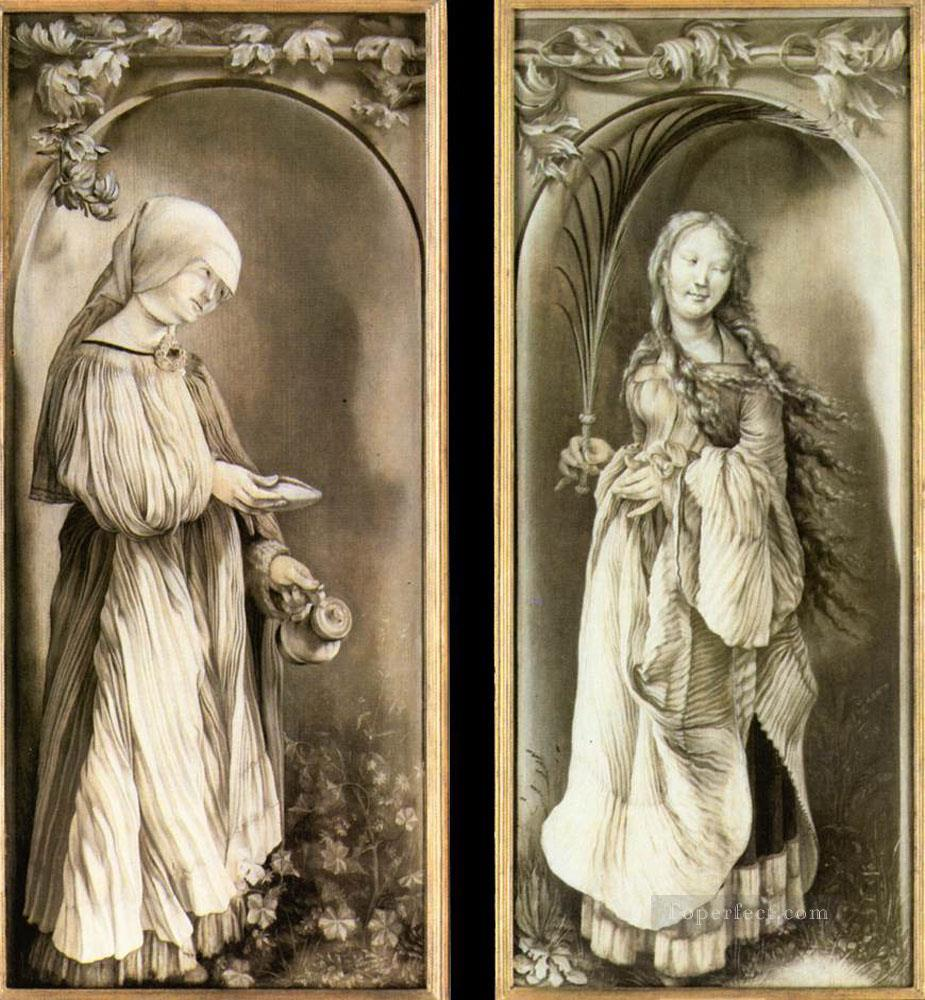 St Elizabeth and a Saint Woman with Palm Renaissance Matthias Grunewald Oil Paintings