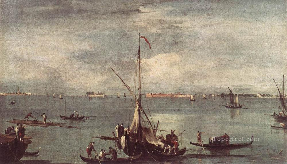 The Lagoon with Boats Gondolas and Rafts Venetian School Francesco Guardi Oil Paintings