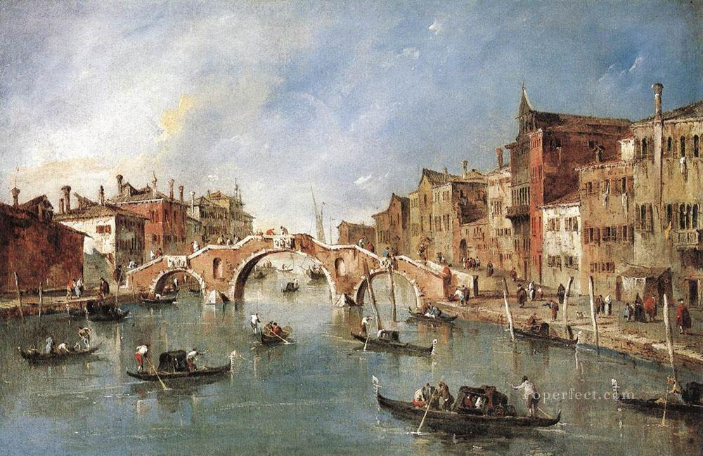 The Three Arched Bridge at Cannaregio Venetian School Francesco Guardi Oil Paintings