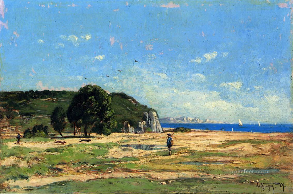 Hunters near the Coast of Marseille scenery Paul Camille Guigou Oil Paintings