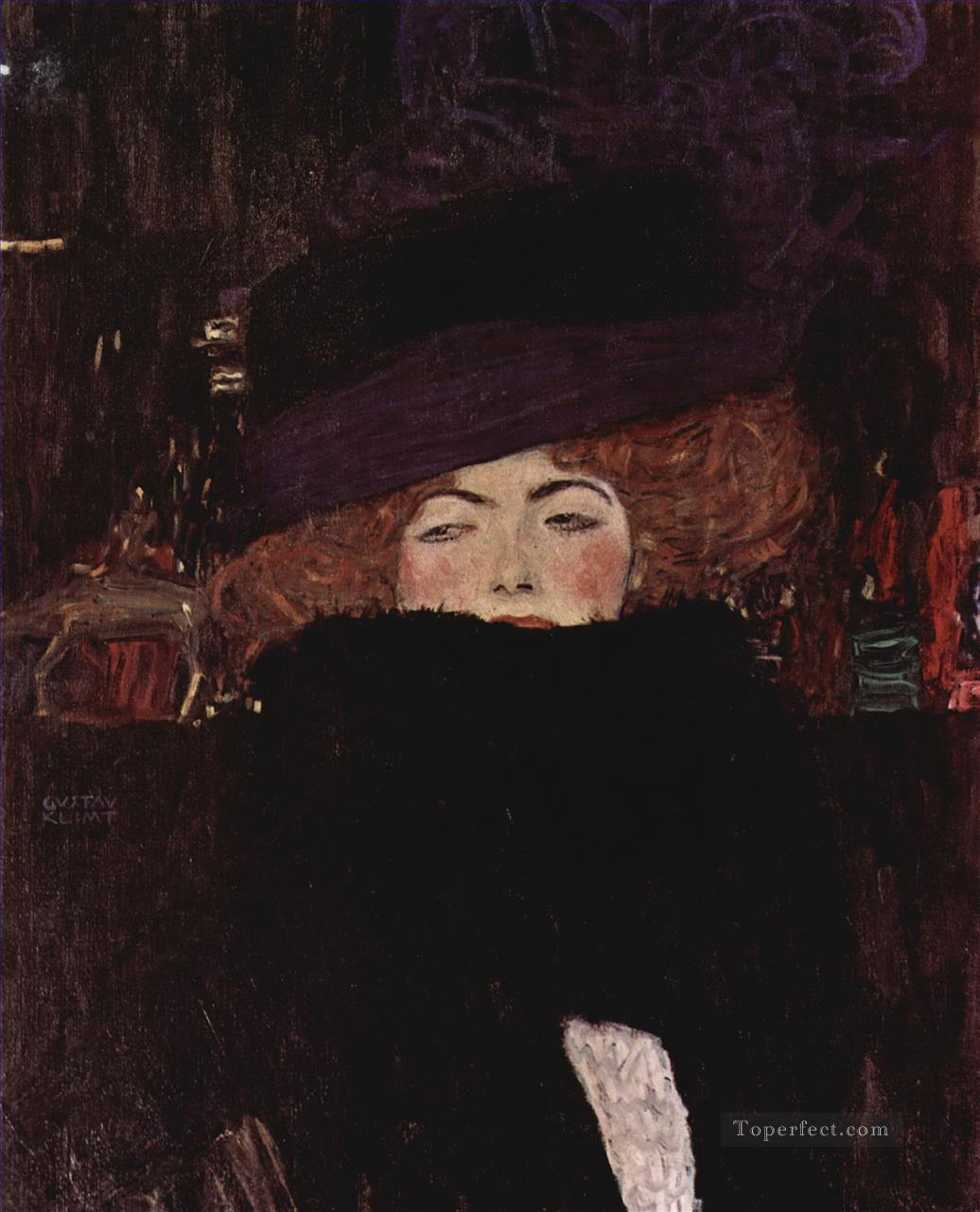 Lady with Hat and Featherboa Gustav Klimt Oil Paintings