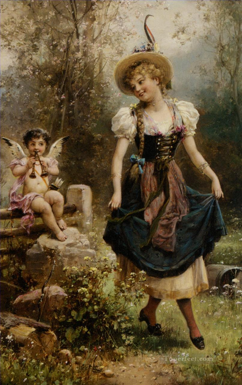 floral angel and dancing girl Hans Zatzka Oil Paintings