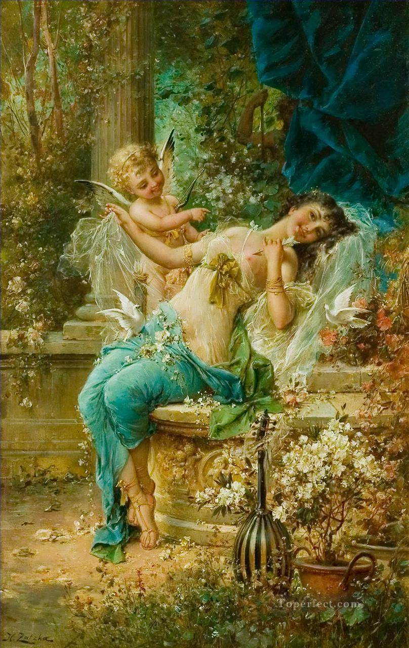 floral angel and girl body Hans Zatzka Oil Paintings