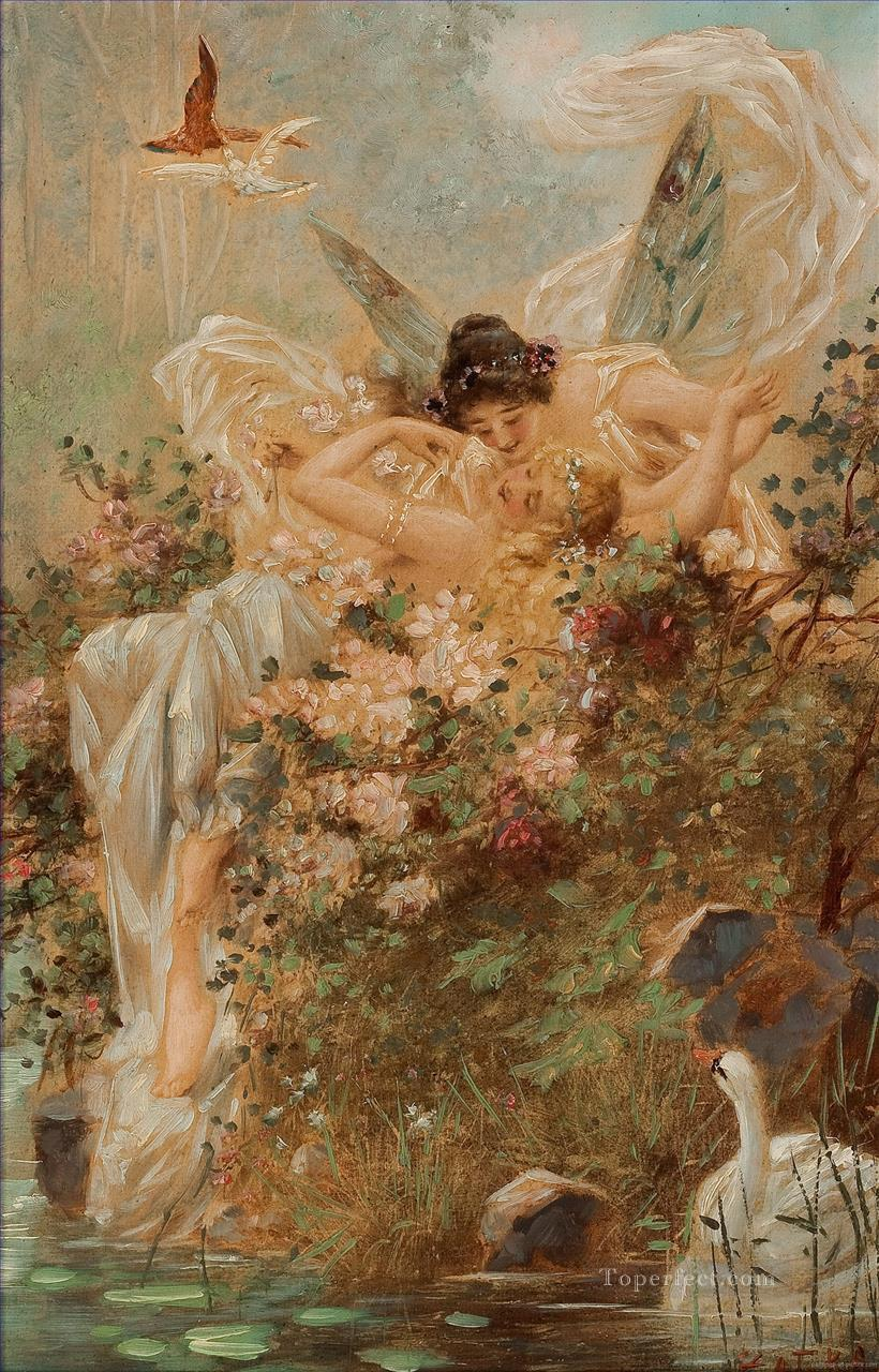 kissing angels and swan Hans Zatzka Oil Paintings