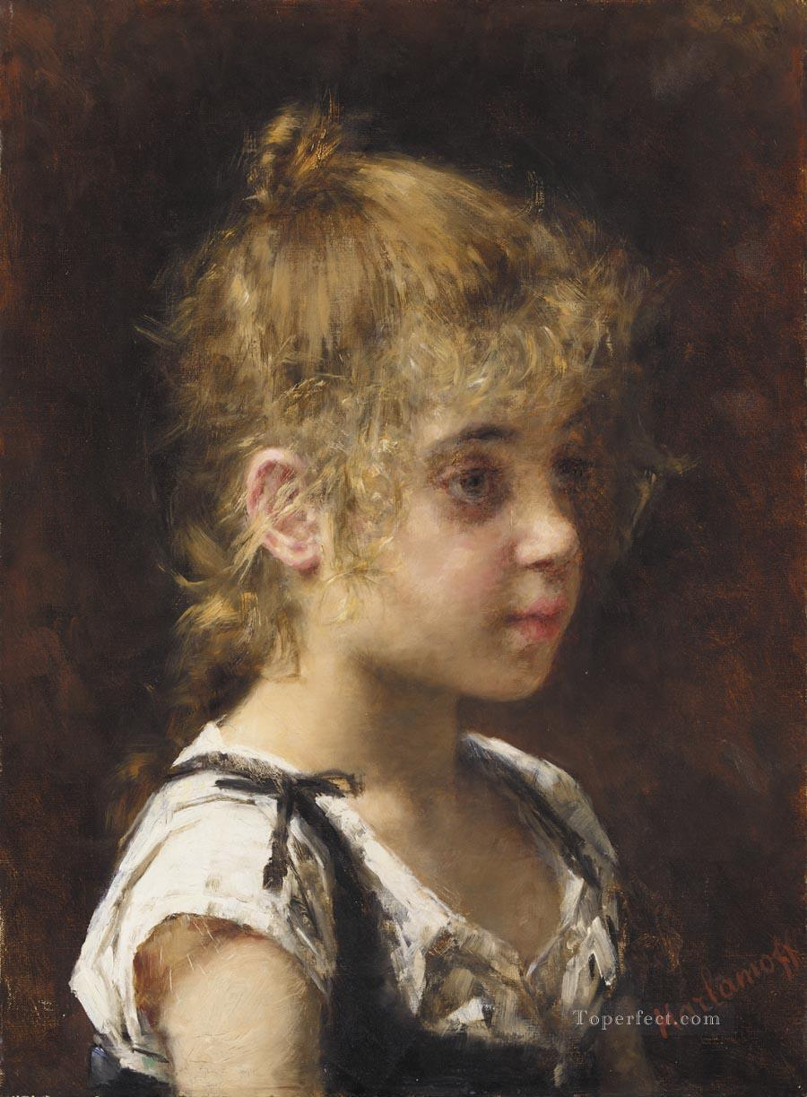 Portrait of a Young Girl girl portrait Alexei Harlamov Oil Paintings