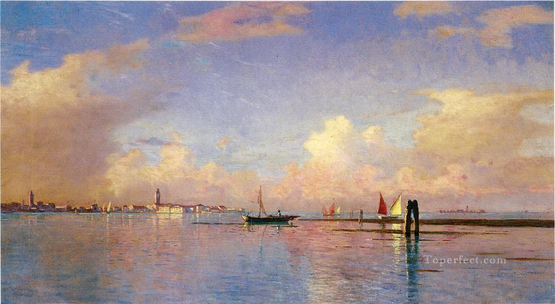 Sunset on the Grand Canal Venice scenery Luminism William Stanley Haseltine Oil Paintings