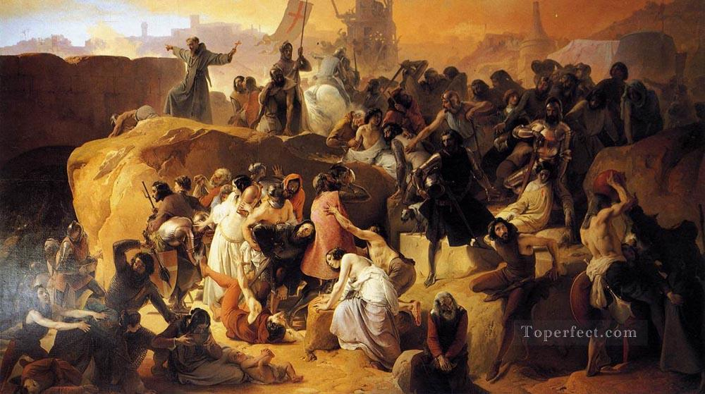 Crusaders Thirsting Near Jerusalem Romanticism Francesco Hayez Oil Paintings