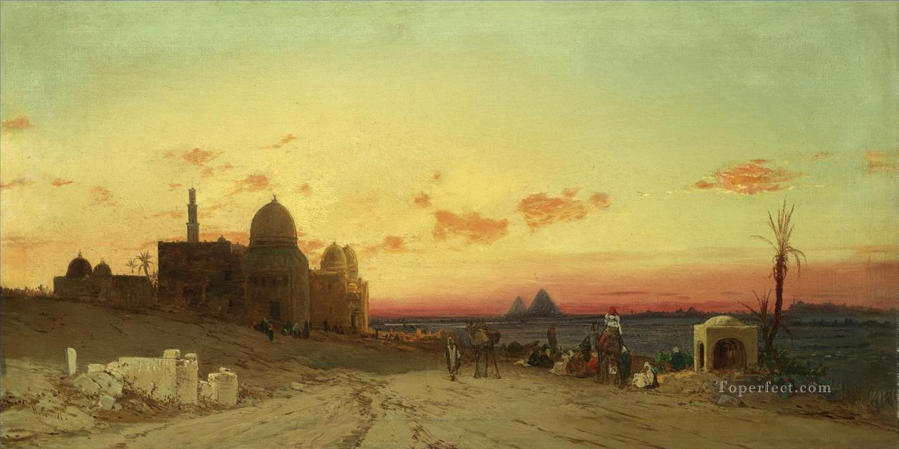 A view of the tomb of the Caliphs with the pyramids of Giza beyond Cairo Hermann David Salomon Corrodi orientalist scenery Oil Paintings