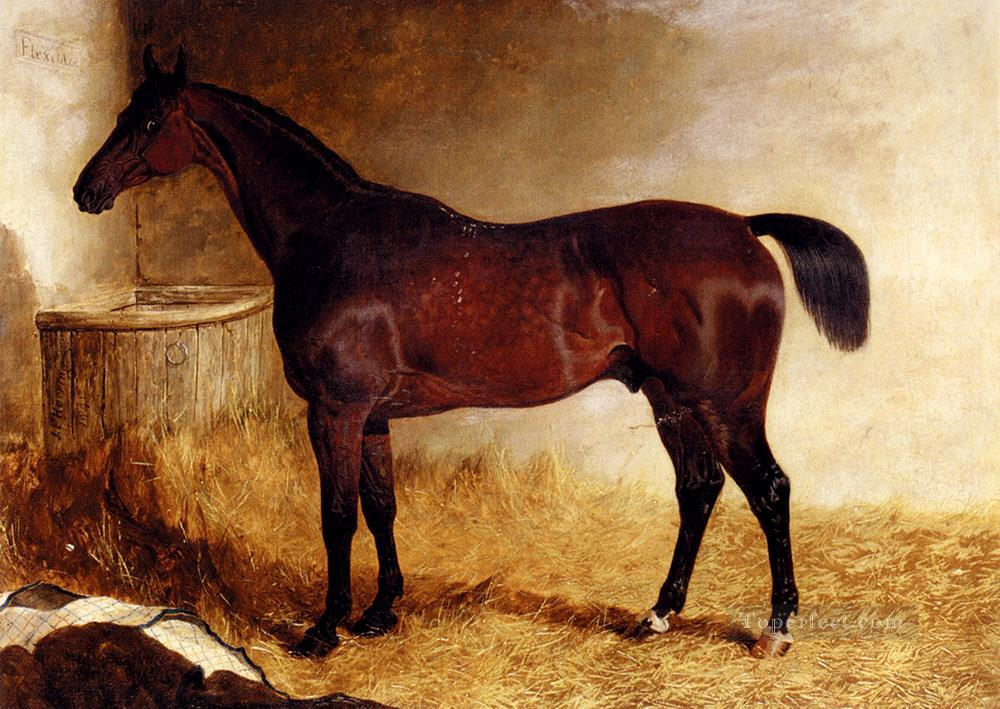 Flexible A Chestnut Racehorse In A Loose Box John Frederick Herring Jr horse Oil Paintings
