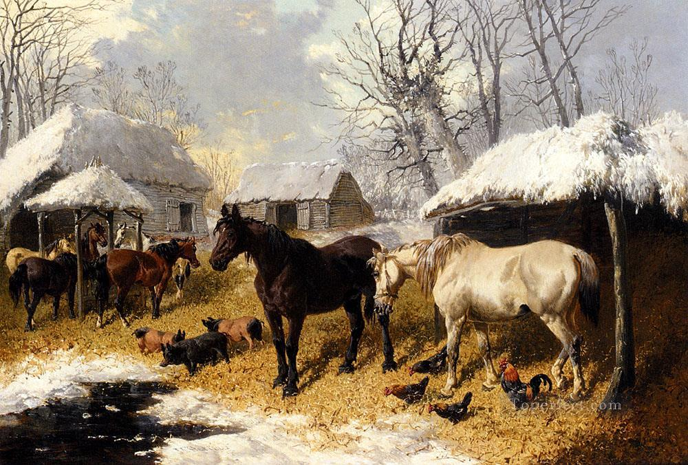 A Farmyard Scene In Winter John Frederick Herring Jr horse Oil Paintings