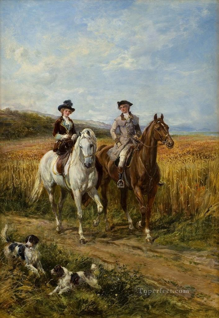 The Morning Ride 3 Heywood Hardy horse riding Oil Paintings