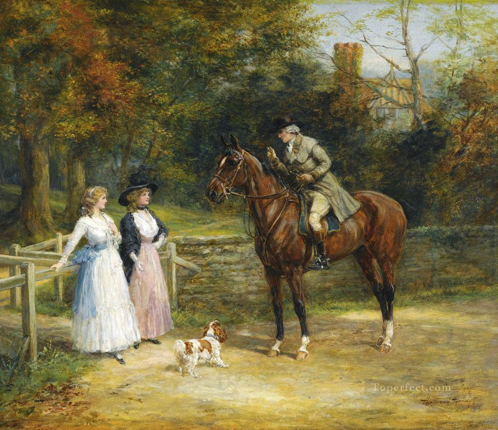 ask the way Heywood Hardy horse riding Oil Paintings