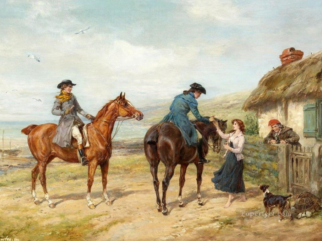 hunters guest rural 3 Heywood Hardy horse riding Oil Paintings