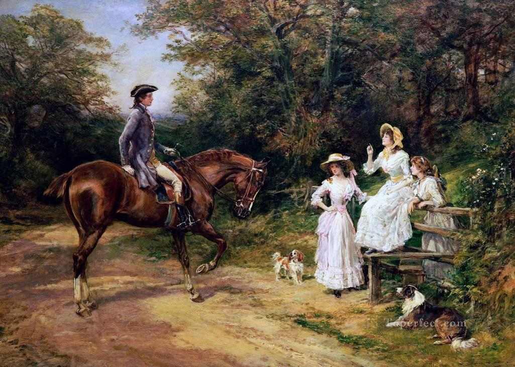 A Meeting by The Stile Heywood Hardy horse riding Oil Paintings