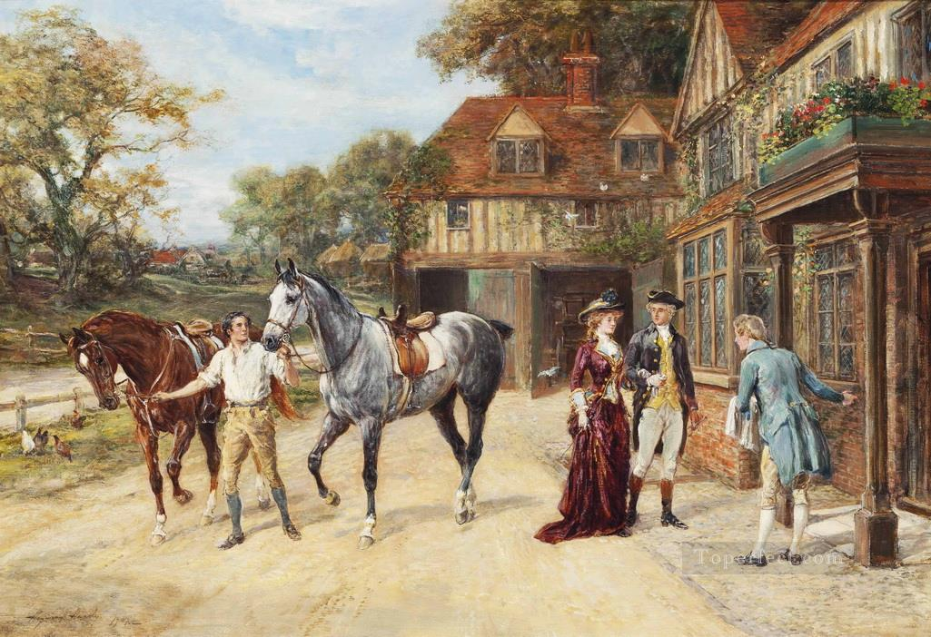 After the morning gallop Heywood Hardy horse riding Oil Paintings