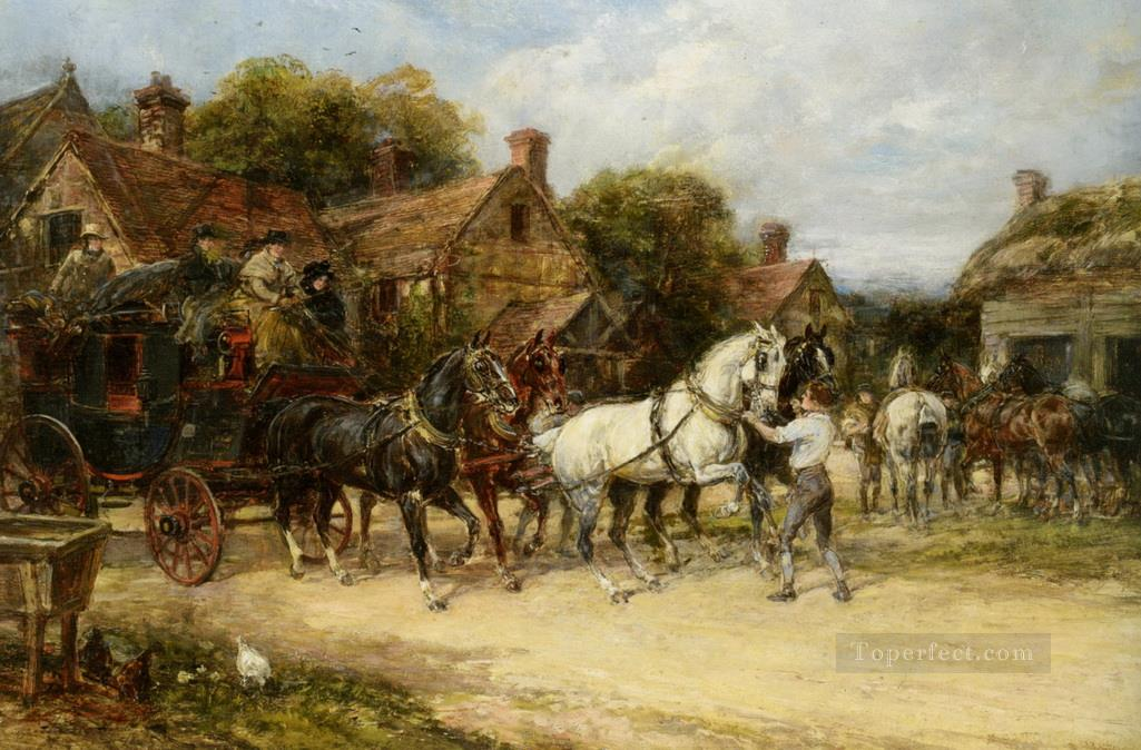 Changing Horses Heywood Hardy horse riding Oil Paintings