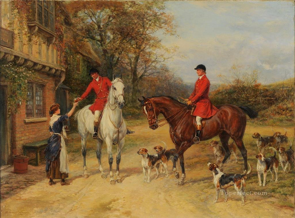 A Halt At The Inn Heywood Hardy horse riding Oil Paintings