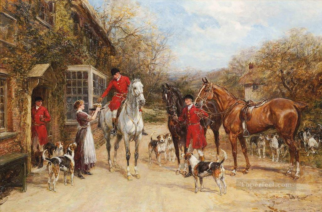A drink before the hunt Heywood Hardy horse riding Oil Paintings