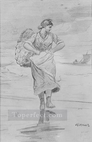 A Fisher Girl On Beach Realism painter Winslow Homer Oil Paintings