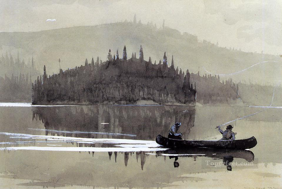 Two Men in a Canoe Realism marine painter Winslow Homer Oil Paintings