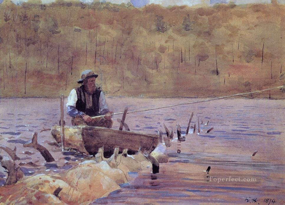 Man in a Punt Fishing Realism painter Winslow Homer Oil Paintings