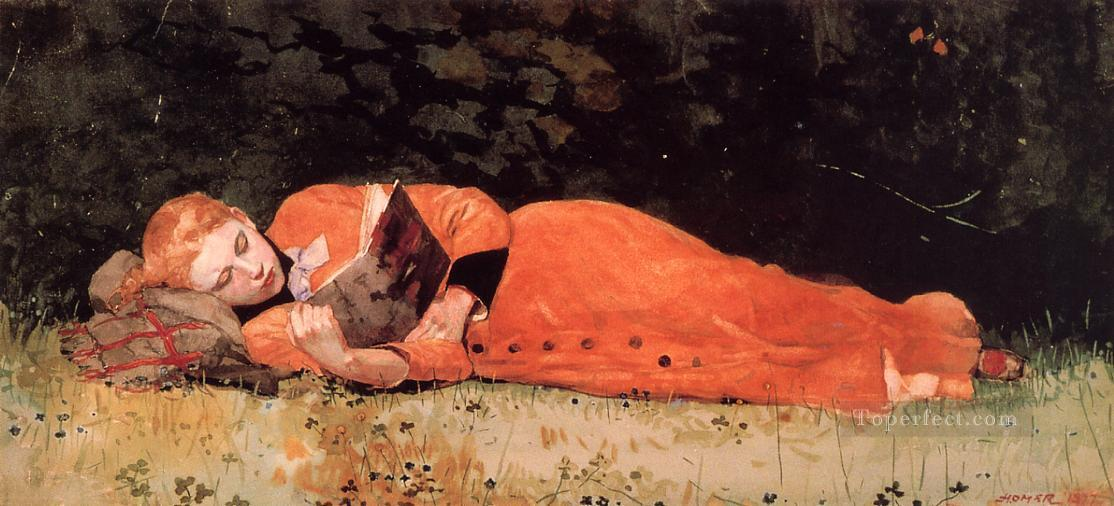 The New Novel aka Book Realism painter Winslow Homer Oil Paintings