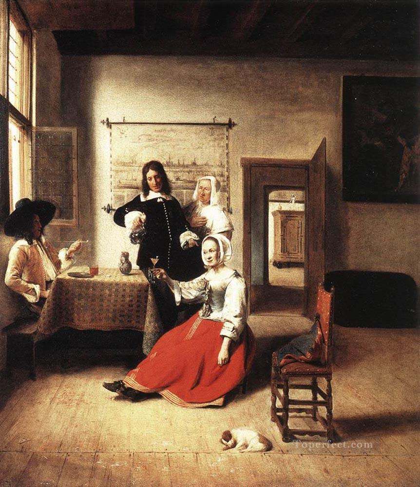 Young Woman Drinking genre Pieter de Hooch Oil Paintings