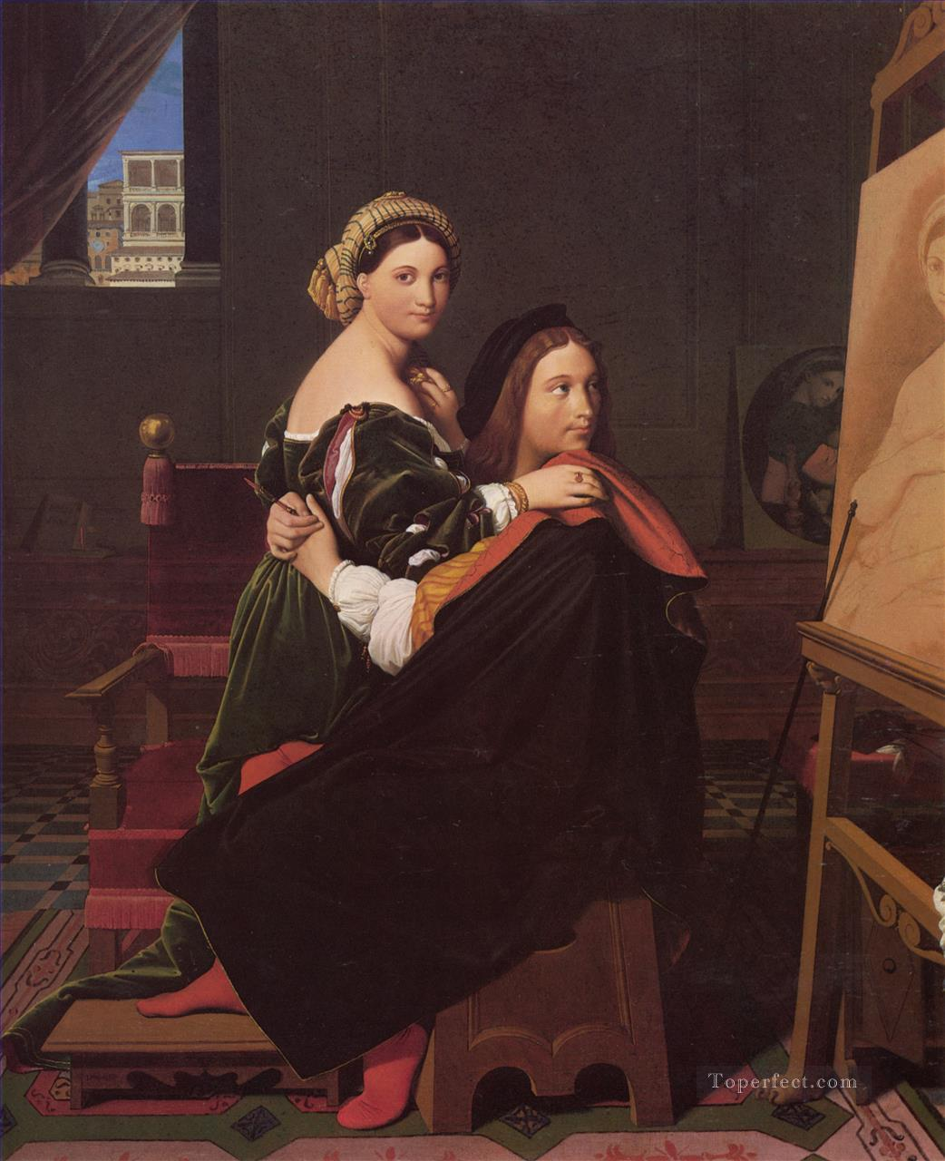 Raphael and the Fornarina Neoclassical Jean Auguste Dominique Ingres Oil Paintings