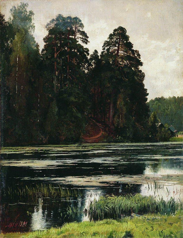 pond 1881 classical landscape Ivan Ivanovich Oil Paintings