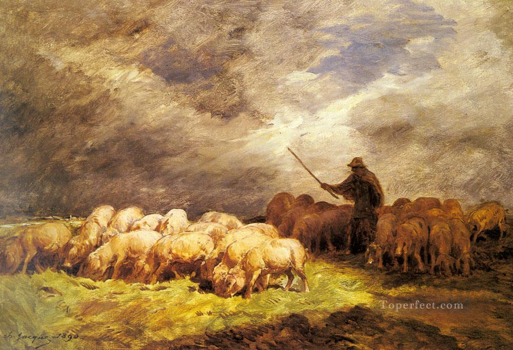The Swineherd animalier Charles Emile Jacque Oil Paintings