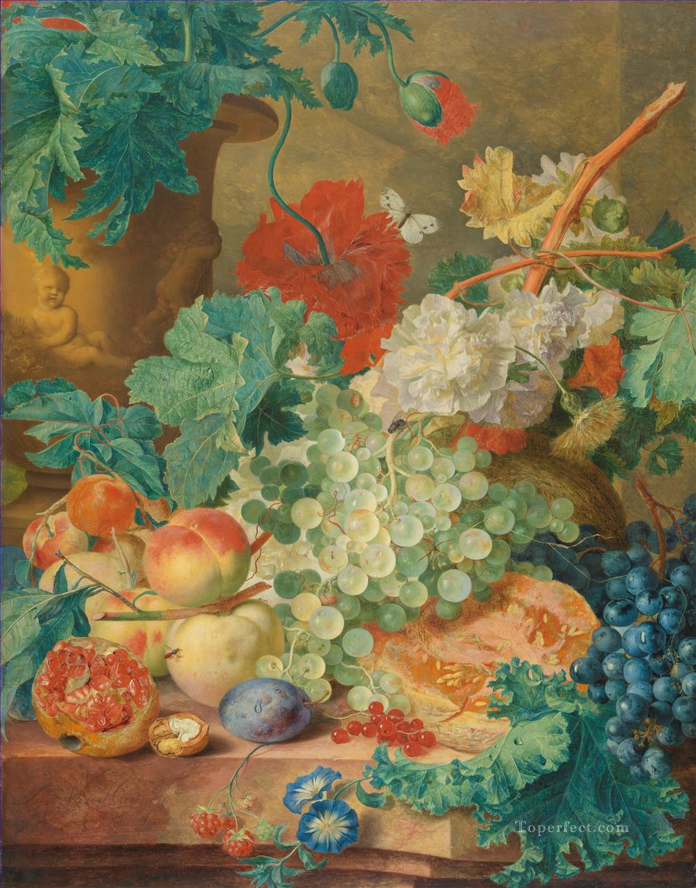 Still Life with Flowers and Fruit 3 Jan van Huysum Oil Paintings