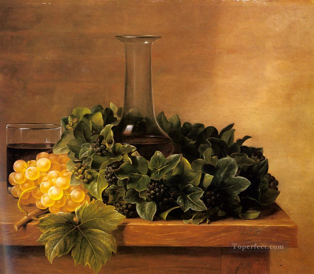 A Still Life With Grapes And Wines On A Table flower Johan Laurentz Jensen flower Oil Paintings