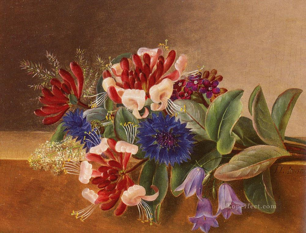 A Still Life With Honeysuckle flower Johan Laurentz Jensen flower Oil Paintings
