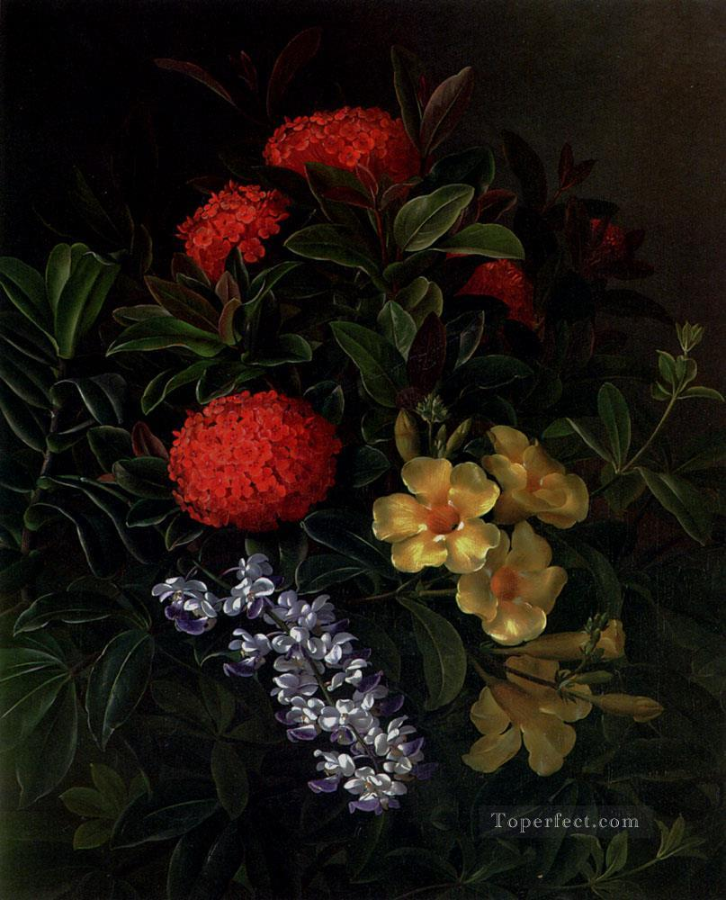 Allemanda Ixora And Orchids flower Johan Laurentz Jensen flower Oil Paintings