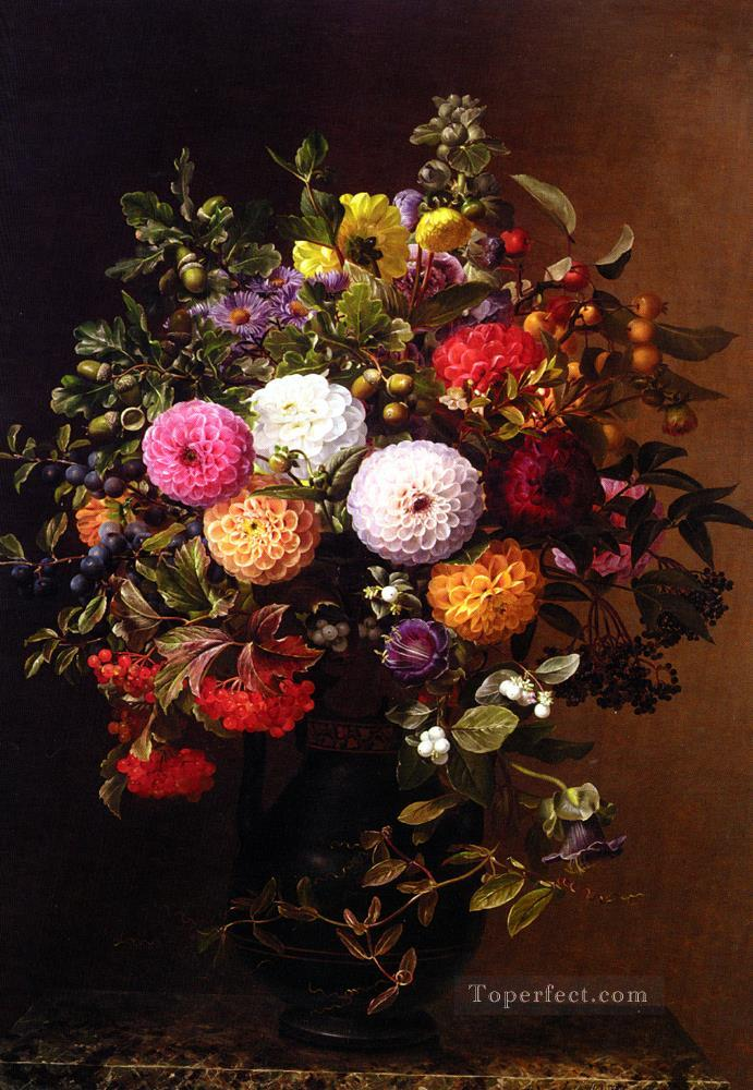 Opstilling med Georginer Still Life flower Johan Laurentz Jensen flower Oil Paintings