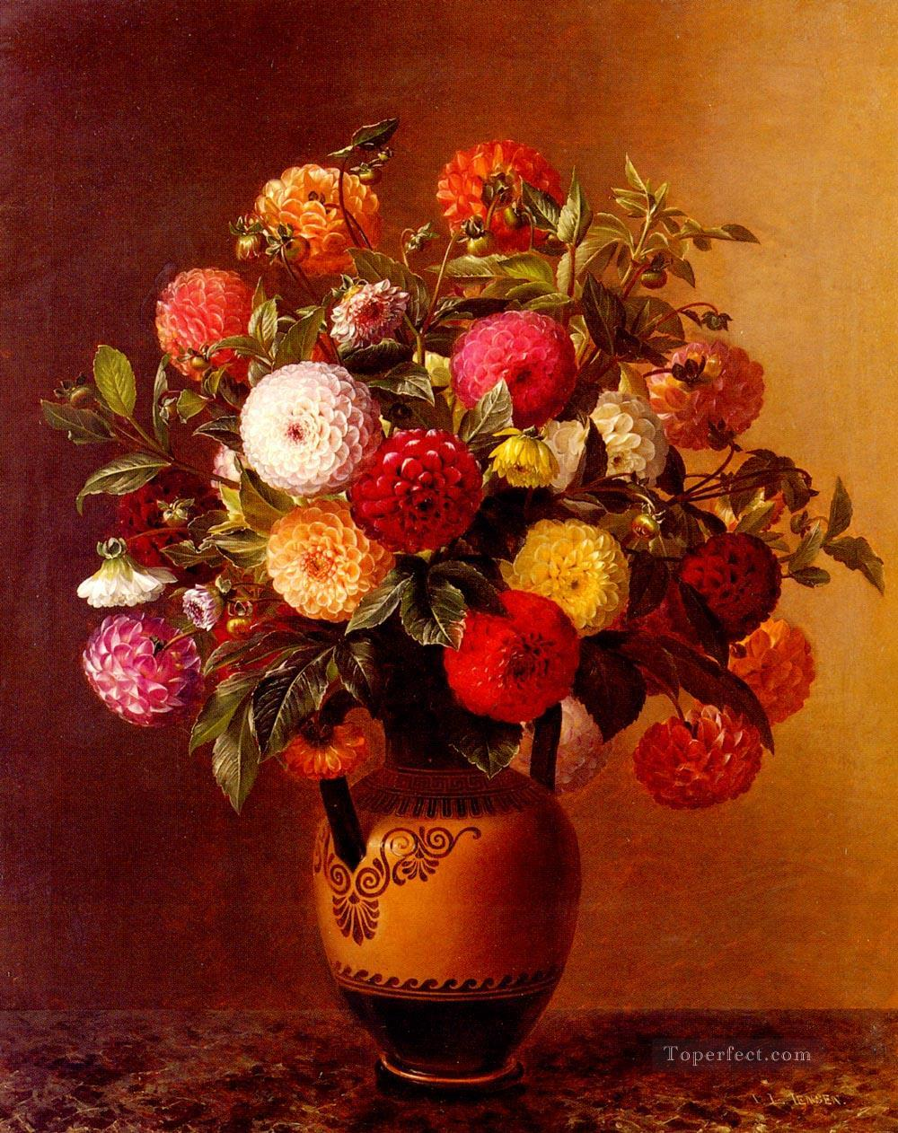 Still Life Of Dahlias In A Vase flower Johan Laurentz Jensen flower Oil Paintings