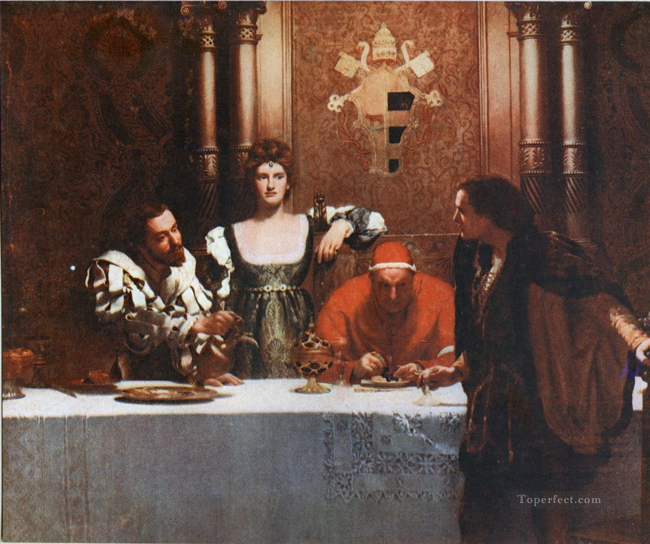 A Glass of Wine with Caesar Borgia John Collier Pre Raphaelite Orientalist Oil Paintings
