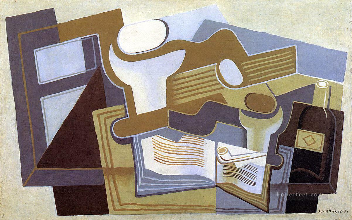 guitar and fruit dish 1 Juan Gris Oil Paintings