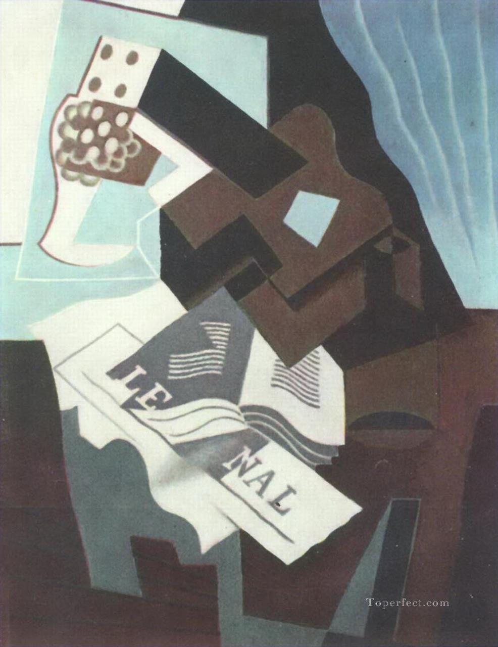 still life with guitar book and newspaper Juan Gris Oil Paintings