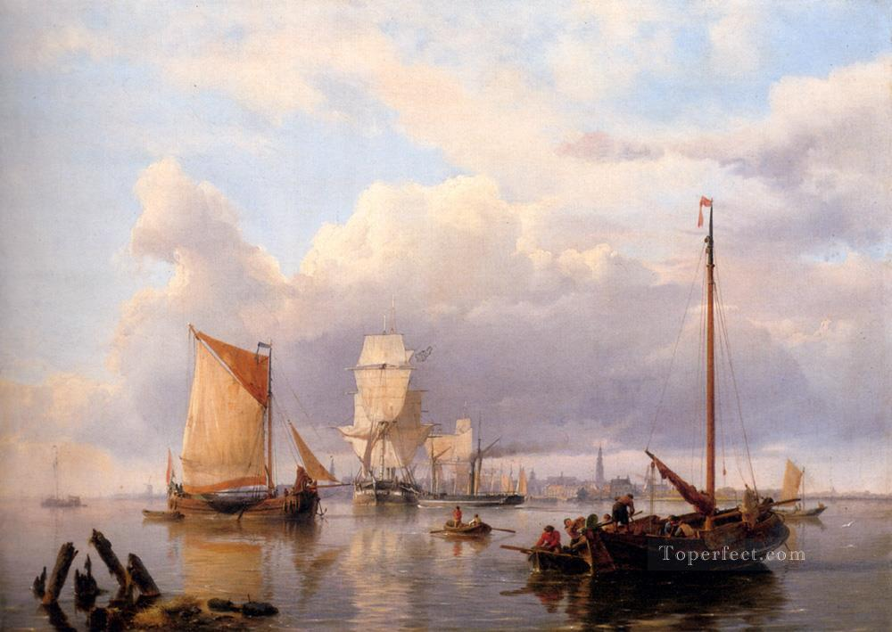 Shipping On The Scheldt With Antwerp In The Background Hermanus Snr Koekkoek seascape boat Oil Paintings