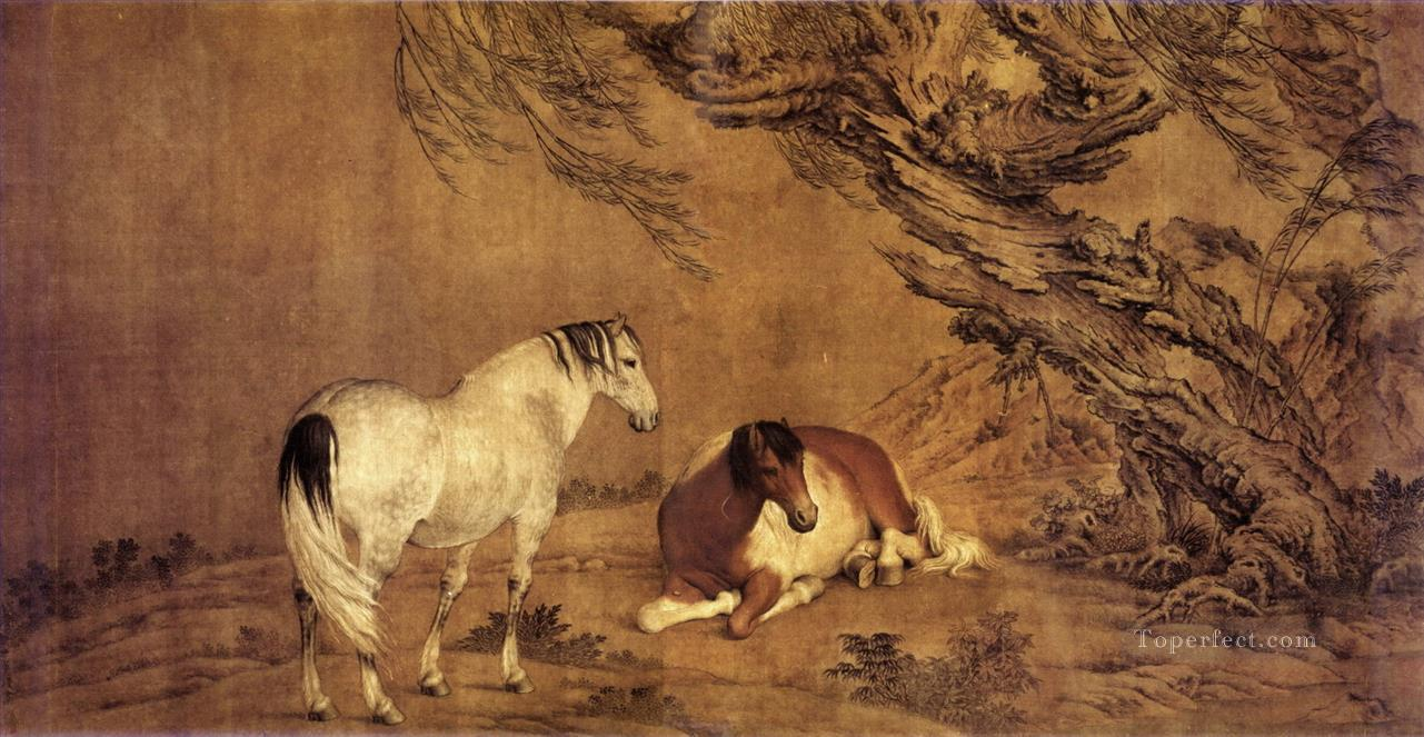 Lang shining 2 horses under willow shadow old China ink Giuseppe Castiglione Oil Paintings