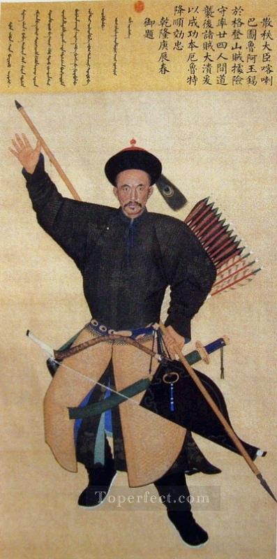 Ayuxi mandsch Ayusi an officer of the Qing Army Lang shining old China ink Giuseppe Castiglione Oil Paintings