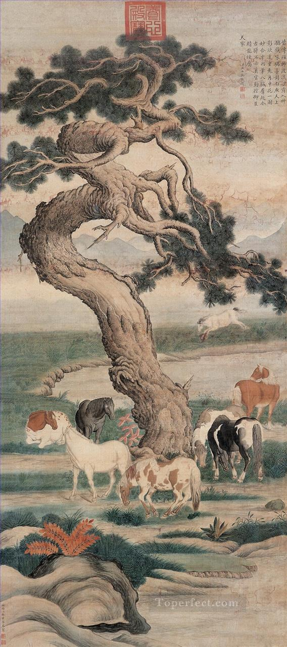 Lang shining eight horses under tree old China ink Giuseppe Castiglione Oil Paintings
