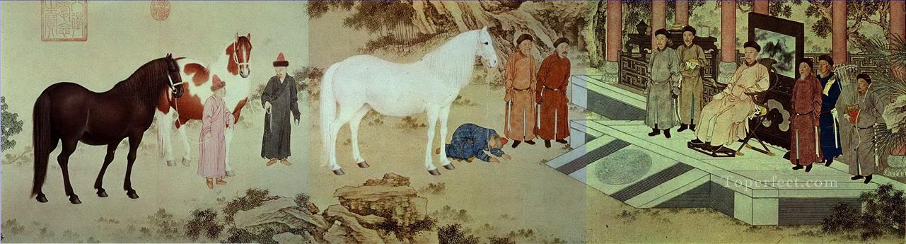 Lang shining tribute of horses old China ink Giuseppe Castiglione Oil Paintings