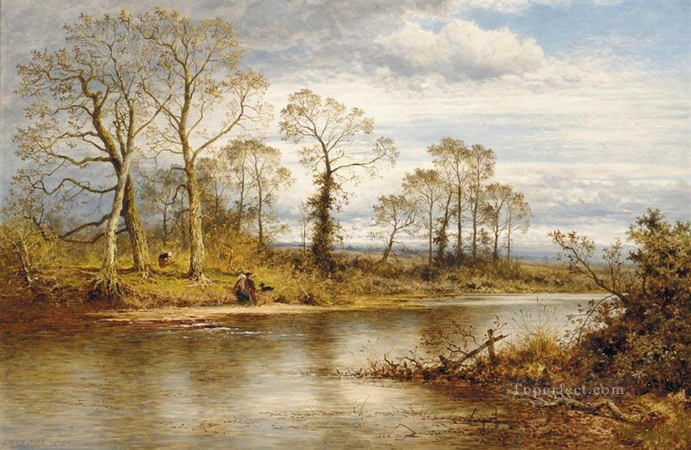 An English River in Autumn Benjamin Williams Leader Oil Paintings