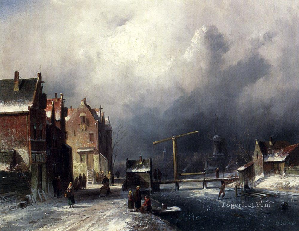 Figures In A Dutch Town By A Frozen Canal landscape Charles Leickert Oil Paintings